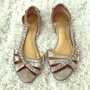 Braided silver rose colored sandals
